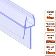 ECOSPA Shower Screen Door Seal (Type 2) • 5mm Glass Thickness • Seals Gaps up to 19mm *TWIN PACK